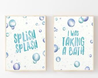 Kids Bathroom Wall Art, Bathroom Print Set, Children Bathroom Wall Art, Watercolor Bubbles, Blue Bathroom Wall Art, Bubble Bathroom Art