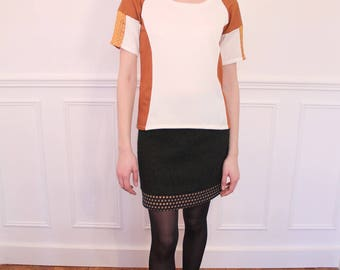 Top short sleeves with cut-outs. White and copper