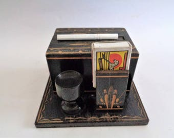 Vintage Cigarette Mecanical Dispenser and Match Holder, Wooden Cigarette Box, Mid Century Decor, Wood Cigarette Holder, Gift for Smokers
