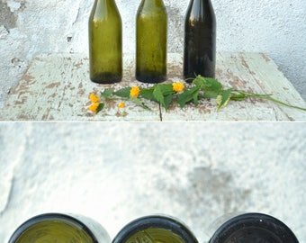 Vintage Bottles, Set of 3 Bottles, Olive Green Glass Bottles from the 40's, Vintage Wedding Decoration, Glass Vases, Beer Bottle Set