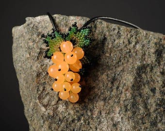 Botanical jewelry brooch Beaded yellow brooch sister gift ideas botanical necklace fake food yellow berries brooch forest berries jewelry