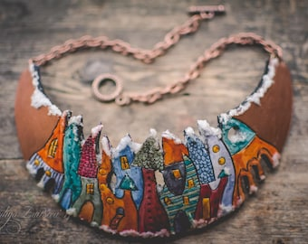 Hand-painted Statement necklace,Bib necklace,polymer clay necklace,necklace with houses,colorful necklace, Christmas necklace, boho necklace