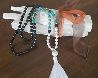 Mala onyx, Jasper, lava stone and howlite 108 beads, gemstones, yoga, meditation