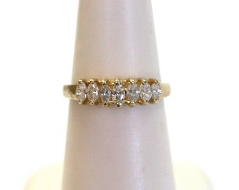 Marquise Diamond Wedding Band Ring in 14k Yellow Gold 1/4ctw
