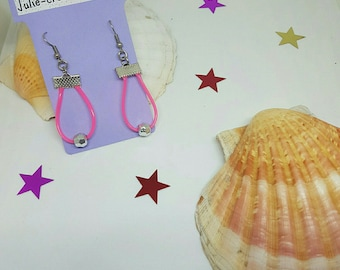 Pink string and silver bead earrings