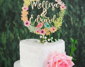 Personalized Wedding Cake Topper, Love Birds Cake Topper for Wedding in Colorful Floral Wreath, Custom Calligraphy Name Cake Topper VU002