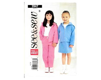 See N Sew 3947 Children Girls Jacket Skirt Pants Sewing Pattern Size 6-8 Uncut