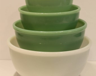 Fire King Jade-ite - Jadeite Beaded Bowl Set - Jadeite Nesting Bowls - Jadite Bowls - Milk Glass Bowl