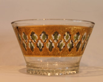 Mid Century Modern Culver Valencia Pattern Ice Bucket - Green and 22 Kt Gold Moroccan Lattice Pattern