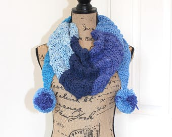 Handmade Crochet Autumn Chill Mod Scarf, Caron Cakes Yarn in Blueberry Cheesecake