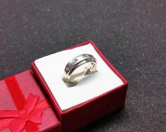 SR642 glitter 17 mm ring 925 Silver Crystal stones