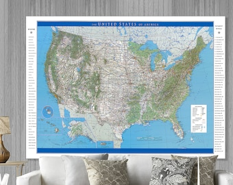 USA Big World Map Huge Map of the USA 6xft x 10ft map