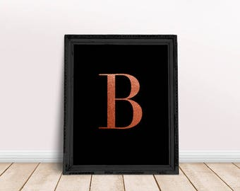 Rose Gold Letter B | Rose Gold Name Print, Rose Gold Nursery, Rose Gold Letter Art, Rose Gold Character, Rose Gold Foil Name, Alphabet Rose
