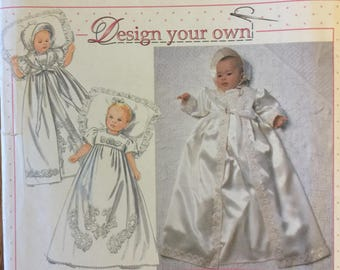 "Rare VTG 7488 Simplicity (1997) ""Design Your Own"" christening gown, coat, bonnet.  Size 7 lbs. to 24 lbs. Complete, FF. Excellent condition."