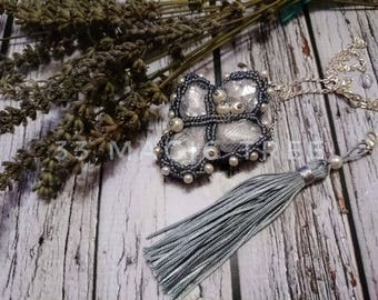 Crystal embroidery seed beads jewelry long necklace pendant glass crystals pendandt beaded jewelry beading necklace beadweaving beadwork