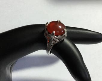 Vintage Filigree Carnelian Sterling Silver Ring Size 3.75