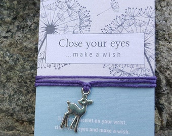Deer Bracelet, Woodland Bracelet, Woodland Jewelry, Deer, Woodland Party Favor, Deer Charm Bracelet, Deer Wish Bracelet, Deer Anklet