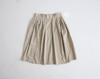 70s kaki skirt | full cotton skirt | high waist pleated skirt