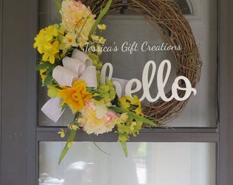 Ready to Ship Hello Grapevine Wreath/Front Door Wreath/Spring/Summer/Welcome/Monogram Wreath/Burlap Decor/Floral Wreath/Farmhouse/Everyday