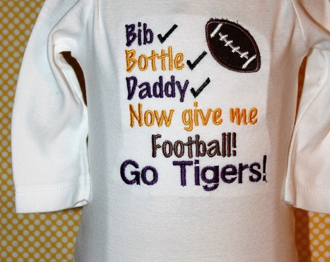 Louisiana State University,LSU Tigers,Beaux Tigers,Purple and Gold,Bengal Tigers,LSU Bodysuit,LSU Football,Baby shower gift,New baby gift
