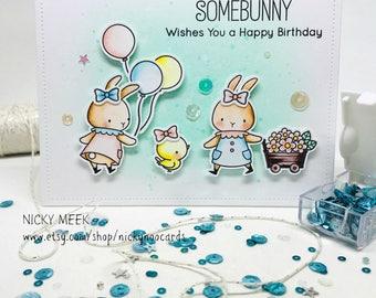 Handmade Birthday Card - Watercolor Bunnies