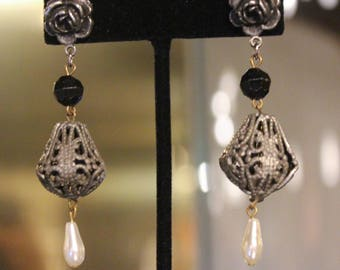 Vintage Silver Rose, Bead, Faux Pearl Dangling Earrings