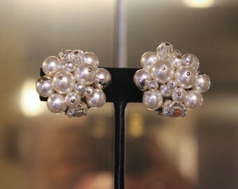 Vintage White Faux Pearl and Crystal Clip On Earrings