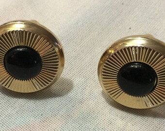 Vintage Dante Black Onyx Cuff Links, Collection, Men's Jewelry 4982-19