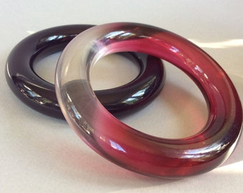 Clear/Red and Dark Cranberry Lucite Round Chunky Bangle Bracelet Set