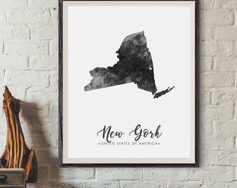 New York Map Etsy - New york map us