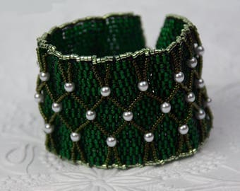 Saint Patrick's Day Seed Bead and Pearl Cuff Bracelet Green Cuff Bracelet Large Green Cuff Bracelet with Pearls