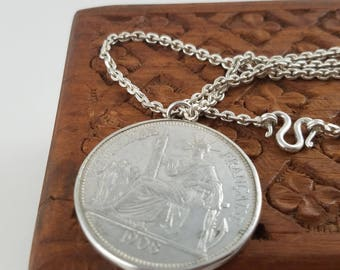 Sterling silver coin pendant Republique Francaise French antique 1908 coin necklace Indo-Chine Francaise PL3133