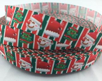 """Santa Grosgrain Ribbons, stocking ribbons, Santa ribbons,  st nick ribbons, Christmas ribbons, holiday  ribbons, Available in 5/8"""" or 7/8"""""""