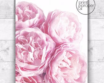 PINK PEONIES Peony Watercolour - Art Print Poster Canvas - On Trend