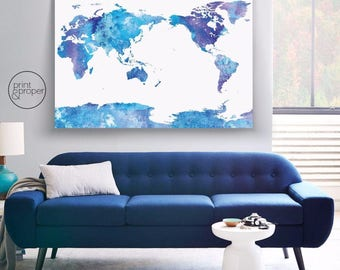 WORLD MAP Watercolour Blues - Scandi - Art Print Poster Canvas