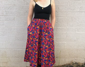 Vintage Floral Melange Skirt; 1990s Colorful Cotton Skirt in Rose Print