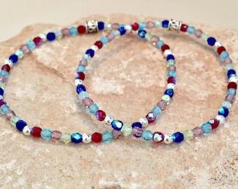 Multicolored mother-daughter bracelets, gemstone bracelets, sterling silver bracelet, stretch bracelet, gift for daughter, elastic bracelets