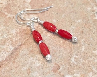 Red drop earrings, coral earrings, sterling silver earrings, Hill Tribe silver earrings, boho earrings, dangle earrings, red coral earrings
