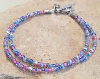 Blue, pink, and purple seed bead bracelet, Hill Tribe silver bracelet, sterling silver bracelet, charm bracelet, boho style bracelet