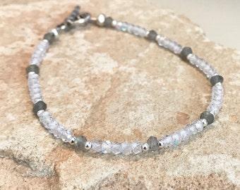 Crystal bracelet, gray bracelet, labradorite gemstone bracelet, crystal quartz bracelet, Hill Tribe silver bracelet,sundance style bracelet