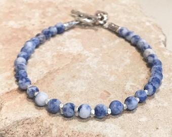 Blue bracelet, sodalite bracelet, gemstone bracelet, Hill Tribe silver bracelet, single strand bracelet, sundance style bracelet