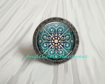 Drawer Knobs Antique Silver Bronze / Crystal Dresser Knob Drawer Knobs / French Cabinet Handles Pull Knob Ornate / Furniture Hardware