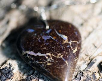 Lovely Australian Boulder Opal Pendant on Sterling Silver Chain Necklace