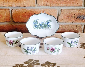 Royal Worcester Herbs 4 sage and thyme vintage porcelain ramekins in original box, with pate or butter dish, ideal Christmas gift