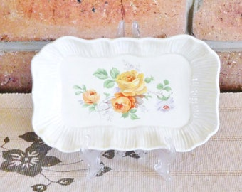 Lancasters Ltd 1930s small rectagular creamware serving dish, yellow roses, high tea
