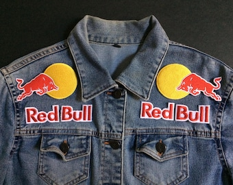 6 Pcs Red Bull Logo Embroidered iron on Patch, sewing patch diy   Biker Patch   Racing Patch