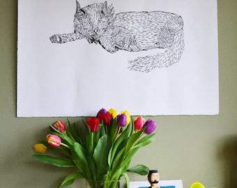 Cat wood cut print  - wood cut - original print - handmade print