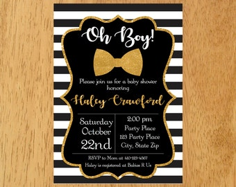 Little Man Baby Shower Invitation, Black and Gold Baby Invitation, Oh Boy Baby Shower, Black White Stripes,Bow Tie  Baby Shower Invitation