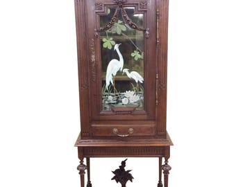 Lovely Antique Hand Painted French China Cabinet, Oak, Turn of Century #8504