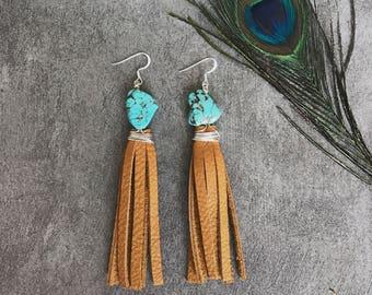 Bohemian colorful leather tassel earrings, Turquoise stone earrings, Statement earrings